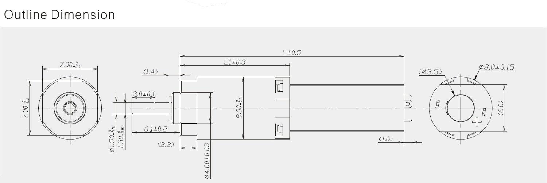 8mm减速机参数规格书下载     输出功率:0.01W-0.3W 传动输出轴:金属输出轴 产品特点:体积小、噪音低、传动效率高、寿命长; 产品应用:眉笔、照相机、保健设备、机器人等; 8MM减速电机为多层可变换的传动比机构,产品拥有二级、三级、四级传动变化可根据您的设计需求跟换减速比及调整齿轮箱的输入转速及力矩。 8mm减速机同时也称为8mm微型减速马达,8mm减速齿轮箱,齿轮减速电机,行星齿轮减速器,微型齿轮减速电机,广泛应用了手机智能旋转传动、机械人传动、医疗传动、安防智能驱动等领域。